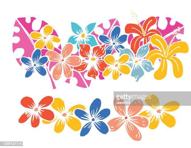Mano dibuja historieta divertida estilo Tropical flores y hojas de Monstera