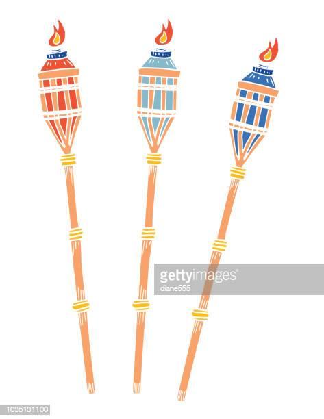 ilustrações, clipart, desenhos animados e ícones de mão desenhada cartoon divertido estilo tropical tochas - tocha olímpica tocha de fogo