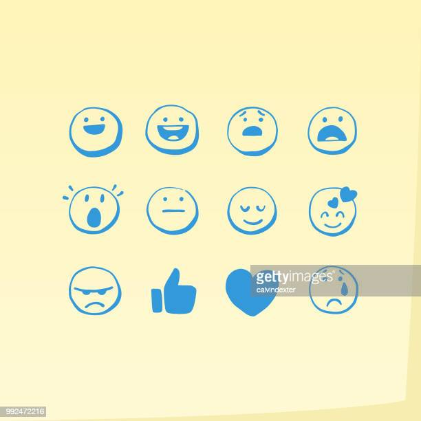 hand drawn general emoticons on adhesive note - smiling stock illustrations