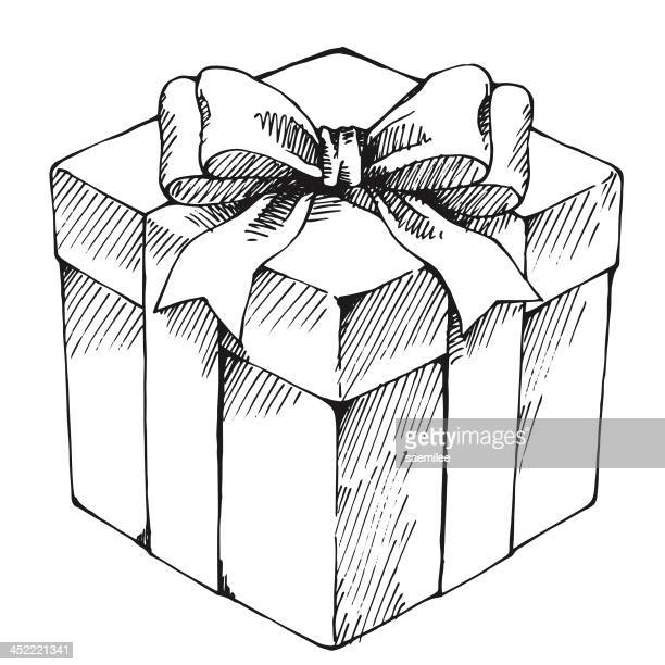 hand drawn gift box - gift stock illustrations