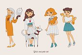 Hand drawn girls with cute pets dog, cat, snake, owl.