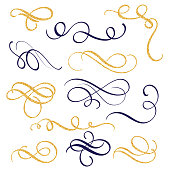 Hand drawn gold and black ink swirls and flourishes. Vector illustration Calligraphic design elements