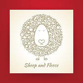Hand Drawn Gold Sheep and Fleece Vector Illustration