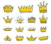 Hand drawn golden crowns draft set. Vector illustration.