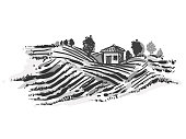 Hand drawn gray scale illustration of farm and field. sketch. Vector eps 8.