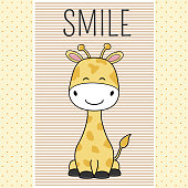 Hand drawn greeting card of a cute funny giraffe.