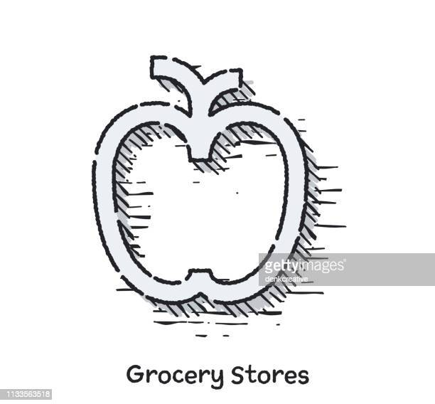 Hand Drawn Grocery Stores Sketch Line Icon for Web