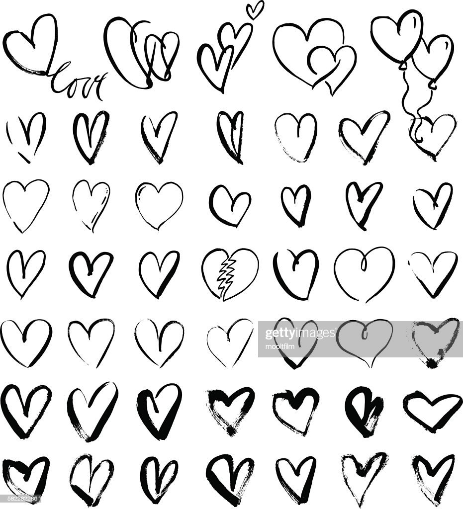 Hand drawn grunge hearts