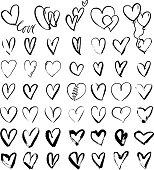 Hand drawn grunge hearts