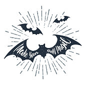 Hand drawn Halloween label with textured vector illustration.