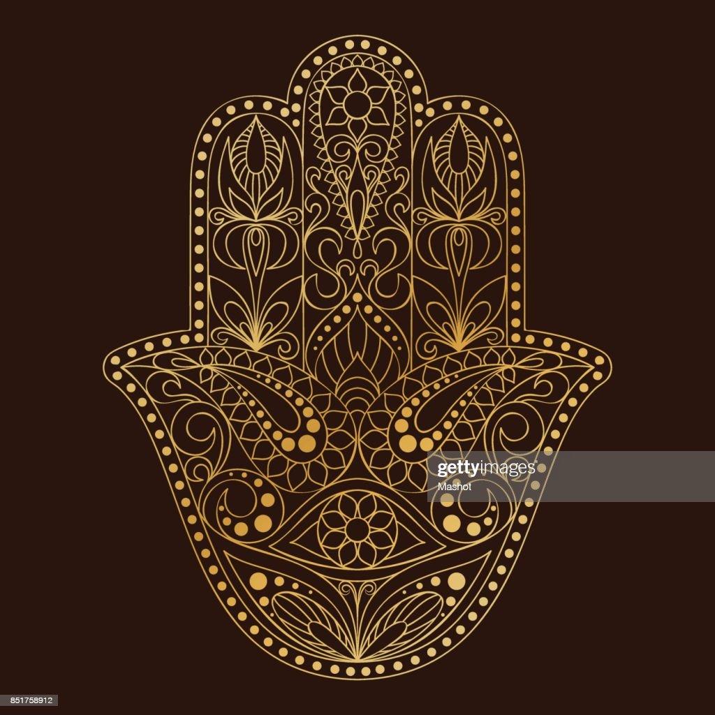 Hand drawn Hamsa symbol.  Hand of Fatima. Ethnic amulet common in Indian, Arabic and Jewish cultures.