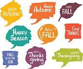 hand drawn handwritten autumn fall thanksgiving seasonal greeting marker strokes speech bubbles