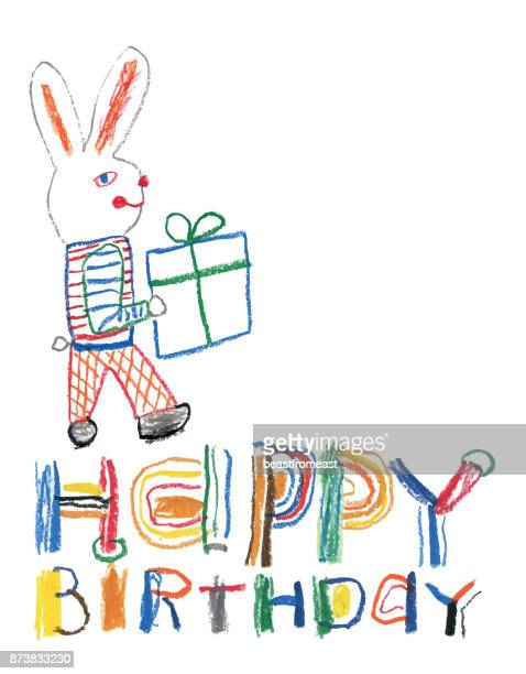 hand drawn happy birthday message with bunny and a gift - letter d stock illustrations, clip art, cartoons, & icons