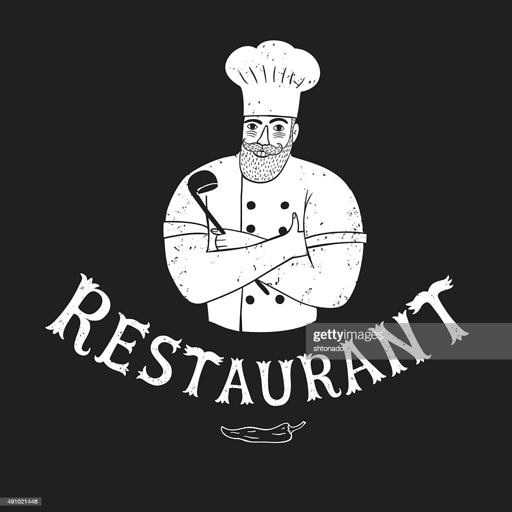 Hand drawn happy chef with restaurant logo