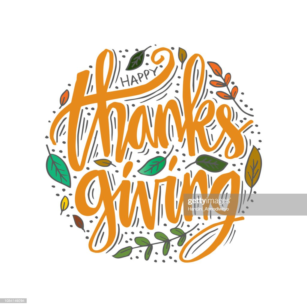 Hand drawn Happy Thanksgiving typography calligraphy poster.