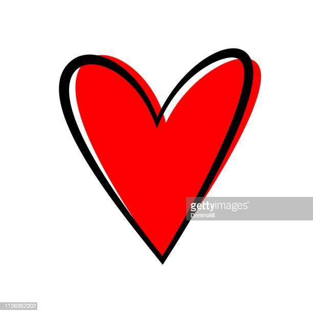 illustrazioni stock, clip art, cartoni animati e icone di tendenza di hand drawn heart isolated. design element for love concept. doodle sketch red heart shape. - cuore