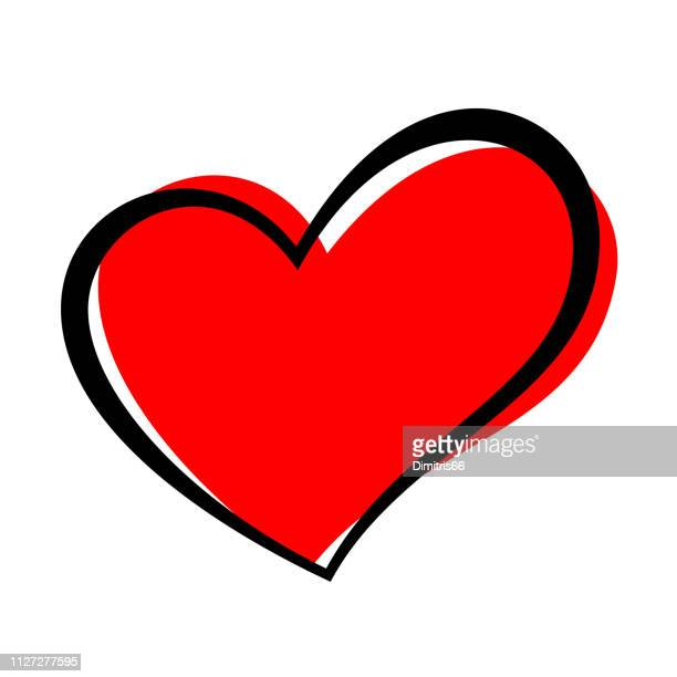 hand drawn heart isolated. design element for love concept. doodle sketch red heart shape. - heart shape stock illustrations