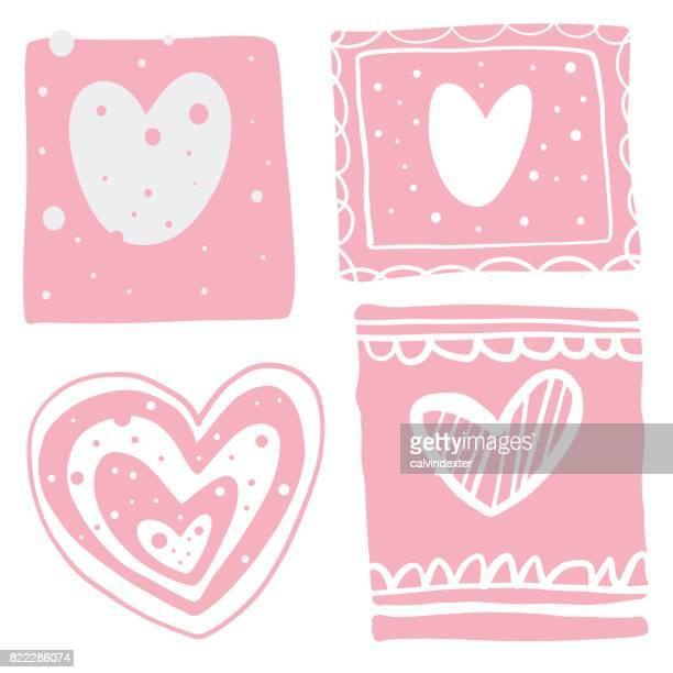 Hand drawn heart shape illustrations