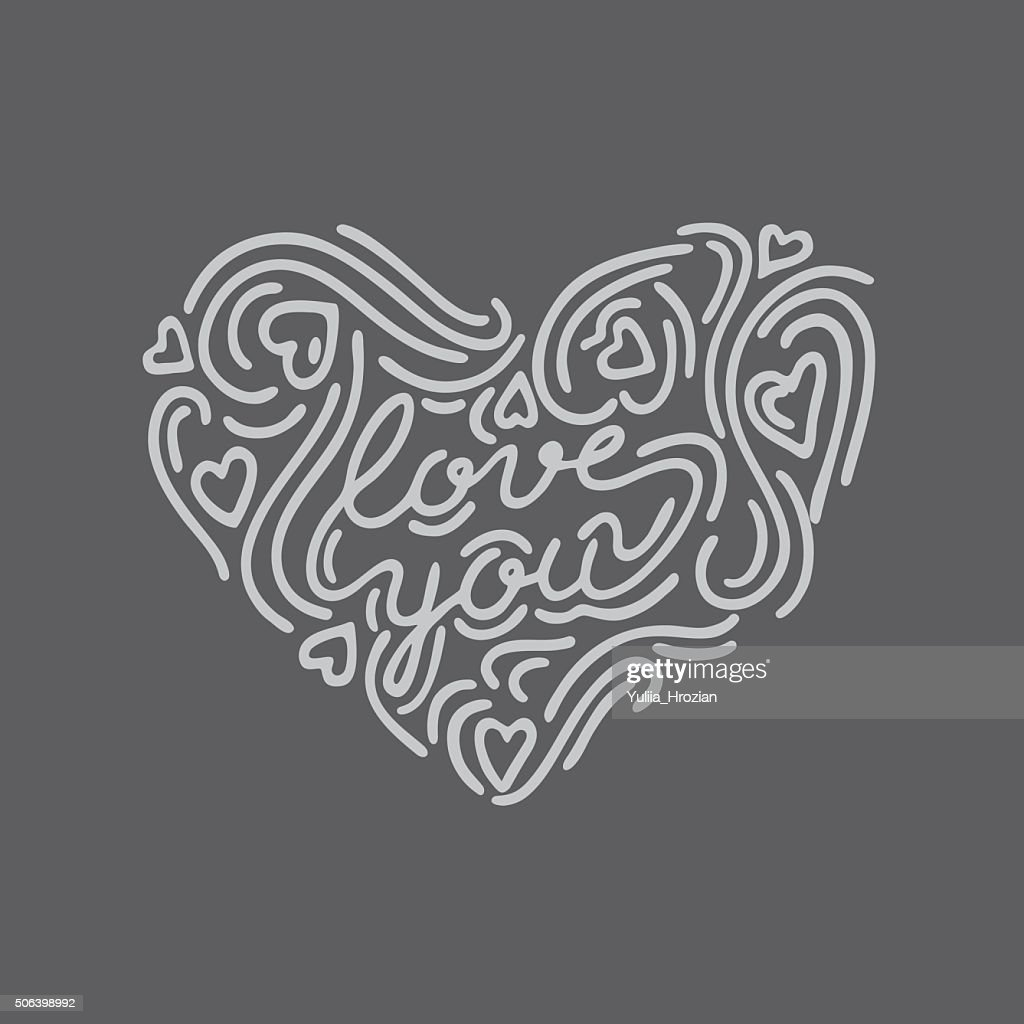 Hand drawn heart shape lettering 'Love you' in the centre