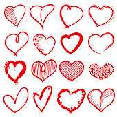 Hand drawn heart shapes, romance love doodle vector signs for
