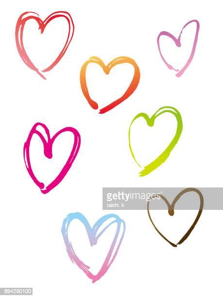 手描きの心 - 書道点のイラスト素材/クリップアート素材/マンガ素材/アイコン素材