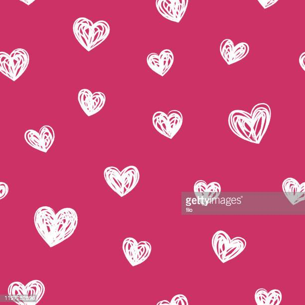 hand drawn hearts seamless background - valentine card stock illustrations