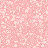 Hand drawn hearts seamless pattern. Simple chaotic light pink heart shapes on pink background. Flat vector texture.