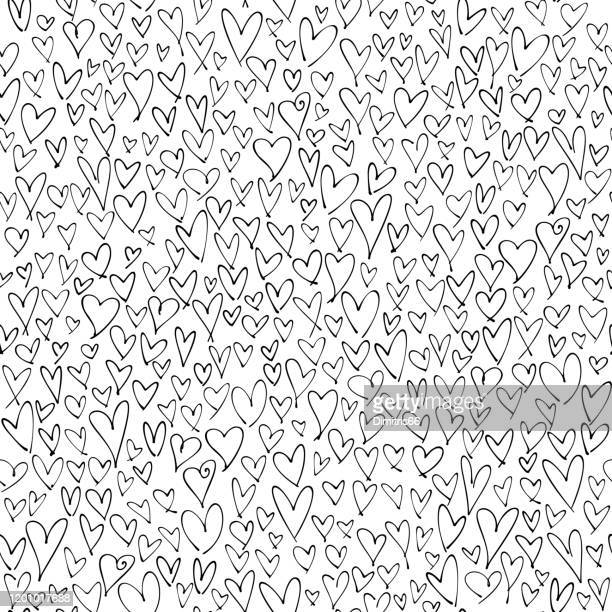 hand drawn hearts seamless pattern. valentine's, mother's day, birthday card, wallpaper or gift wrap design. - heart shape stock illustrations
