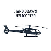Hand drawn helicopter vector illustration.