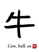 Hand drawn Hieroglyph translate Cow, Bull, Ox . Vector japanese black symbol on white background with text. Ink brush calligraphy with red stamp(in japanese-hanko). Chinese calligraphic letter icon