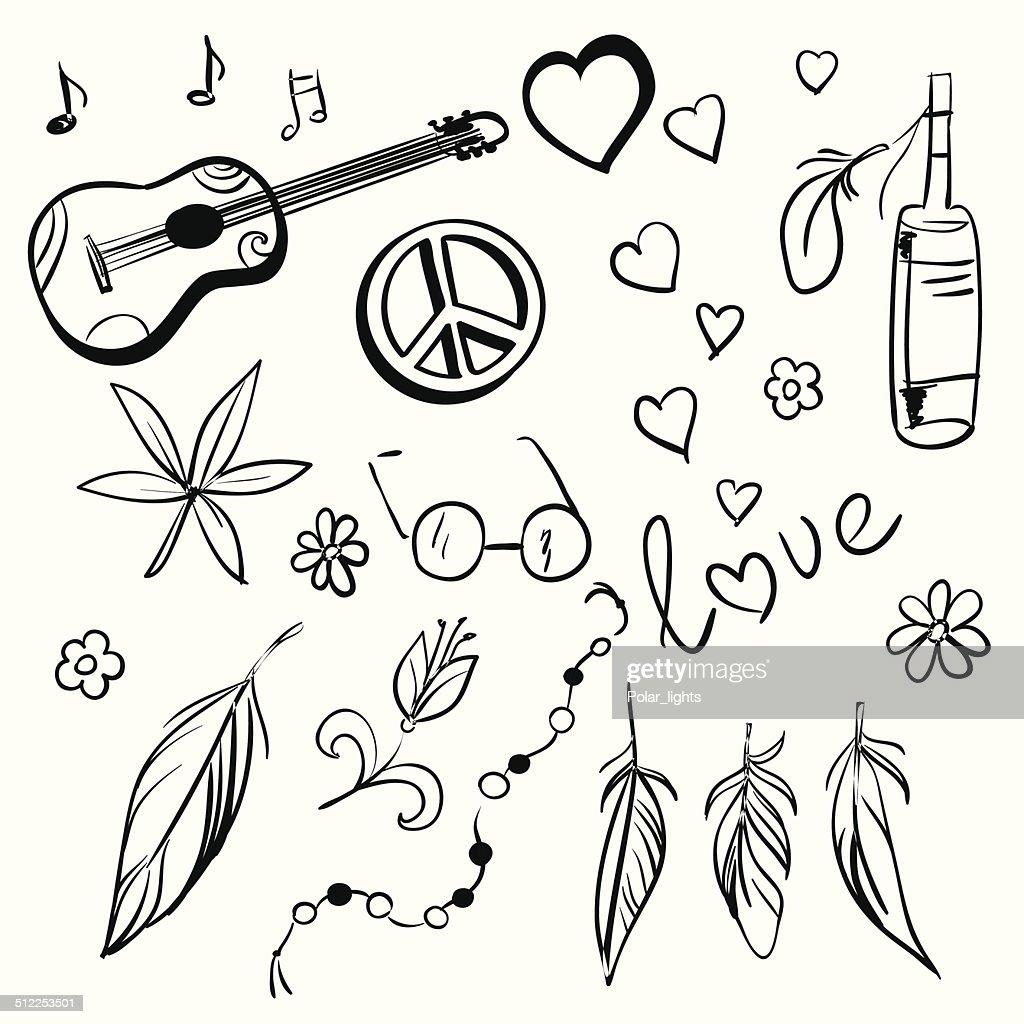 Hand drawn hippie set