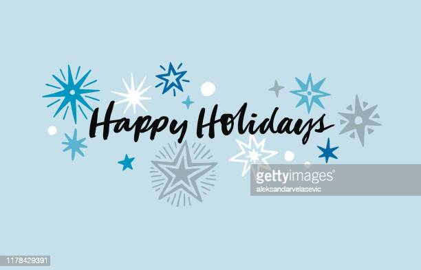 hand drawn holiday card - happy holidays stock illustrations, clip art, cartoons, & icons