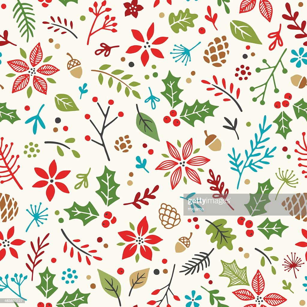 Hand Drawn Holiday Seamless Pattern