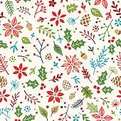 Hand Drawn Holiday Seamless Pattern