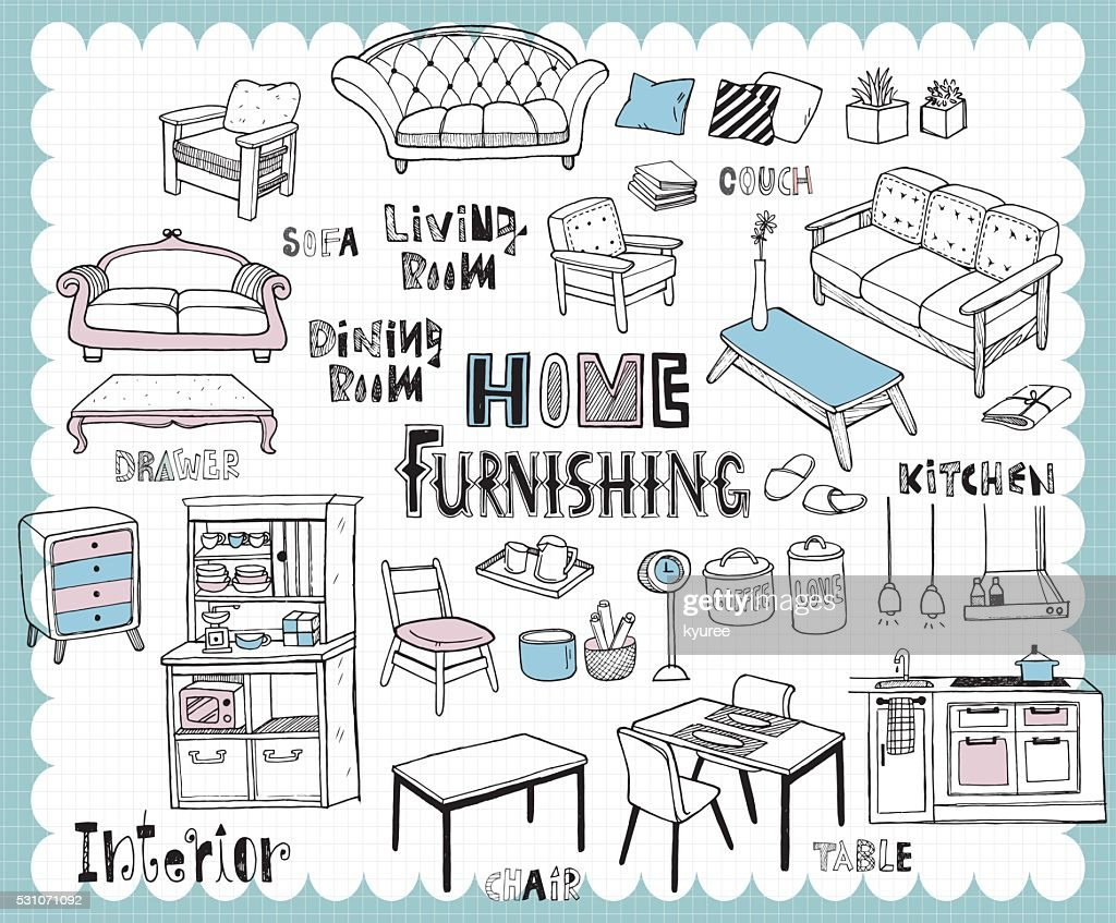 Hand drawn home furnishing set-Dining room and Living room