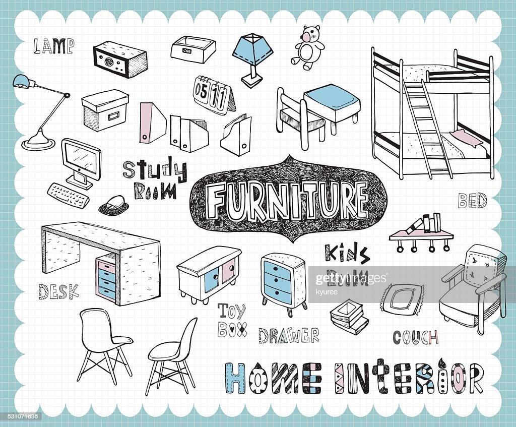 Hand drawn home furnishing set-Study room and Kids room
