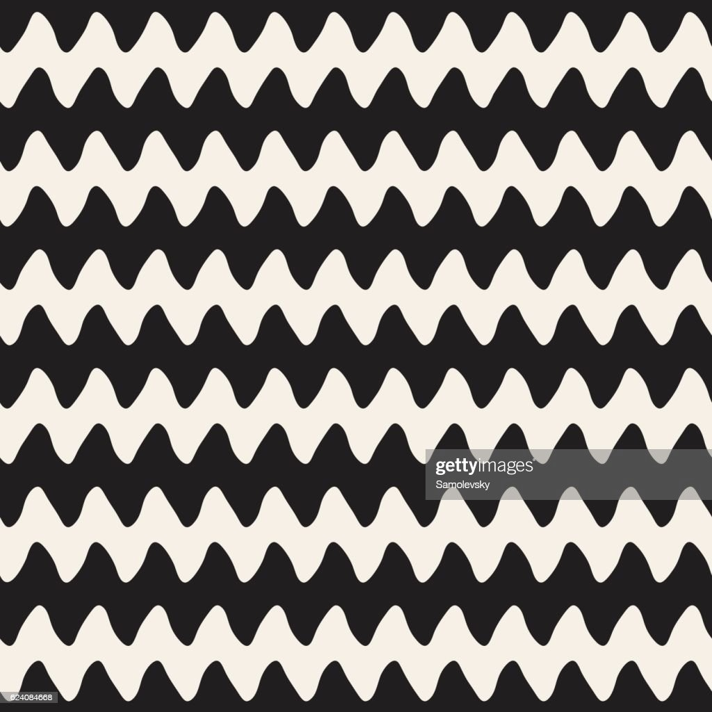 Hand Drawn Horizontal ZigZag Lines. Vector Seamless Black and White