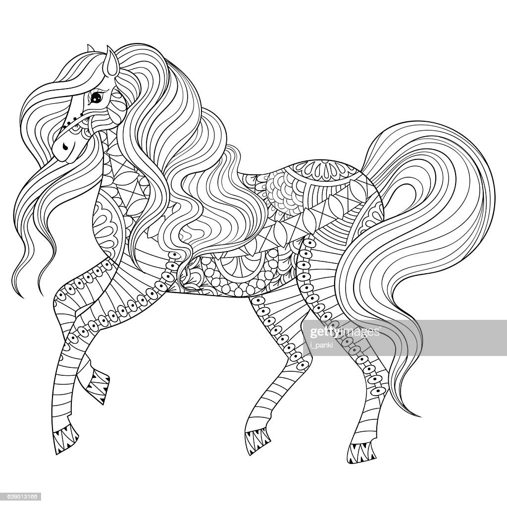 Hand Drawn Horse For Adult Coloring Page Art Therapy Stock ...