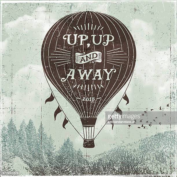 hand drawn hot air balloon sign - balloon ride stock illustrations
