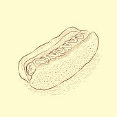 hand drawn Hot dog. Cover for Fast Food Menu.