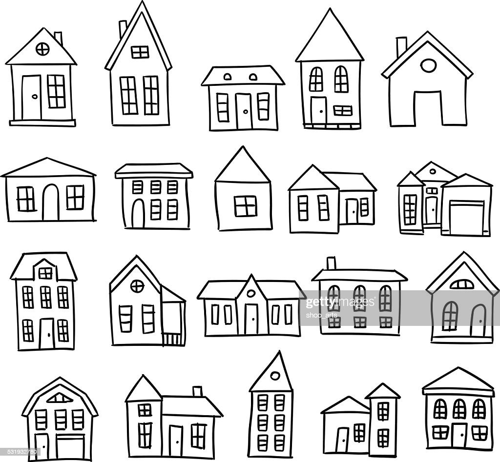 Hand drawn house vector set