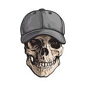 Hand drawn human skull wearing grey colored unlabelled baseball cap