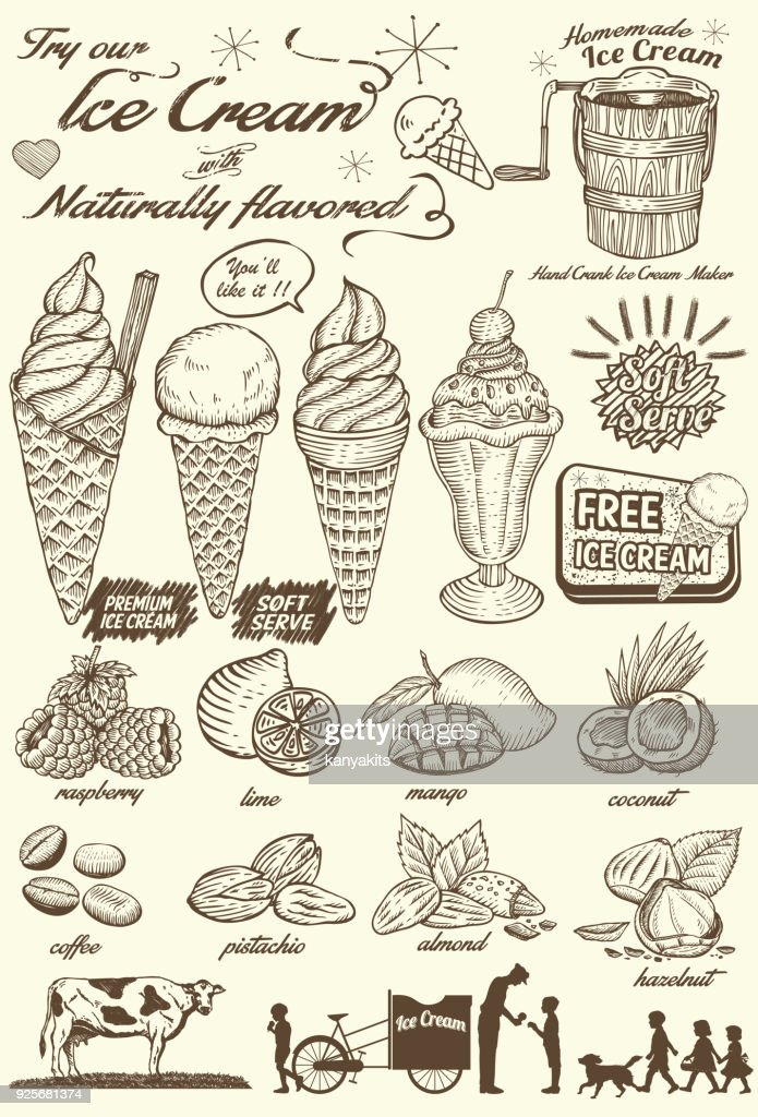 Hand drawn Ice Cream Menu, Vector Illustration