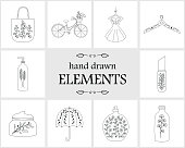 Hand drawn icon,   elements and icons