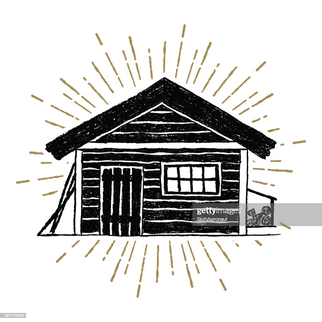 Hand drawn icon with a textured wooden cabin vector illustration