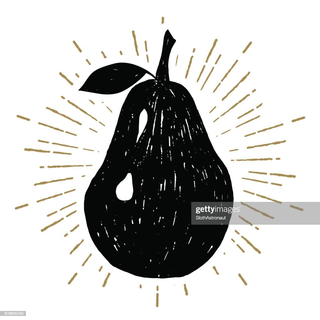 Hand drawn icon with textured pear vector illustration
