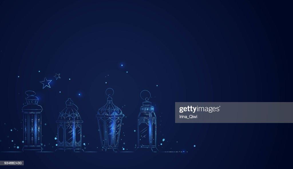 Hand Drawn Illusration of Ramadan Lanterns with Lights