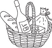 Hand drawn illustration bottle of chilled champagne wine in cooler, ice, celebration, vector, coloring page