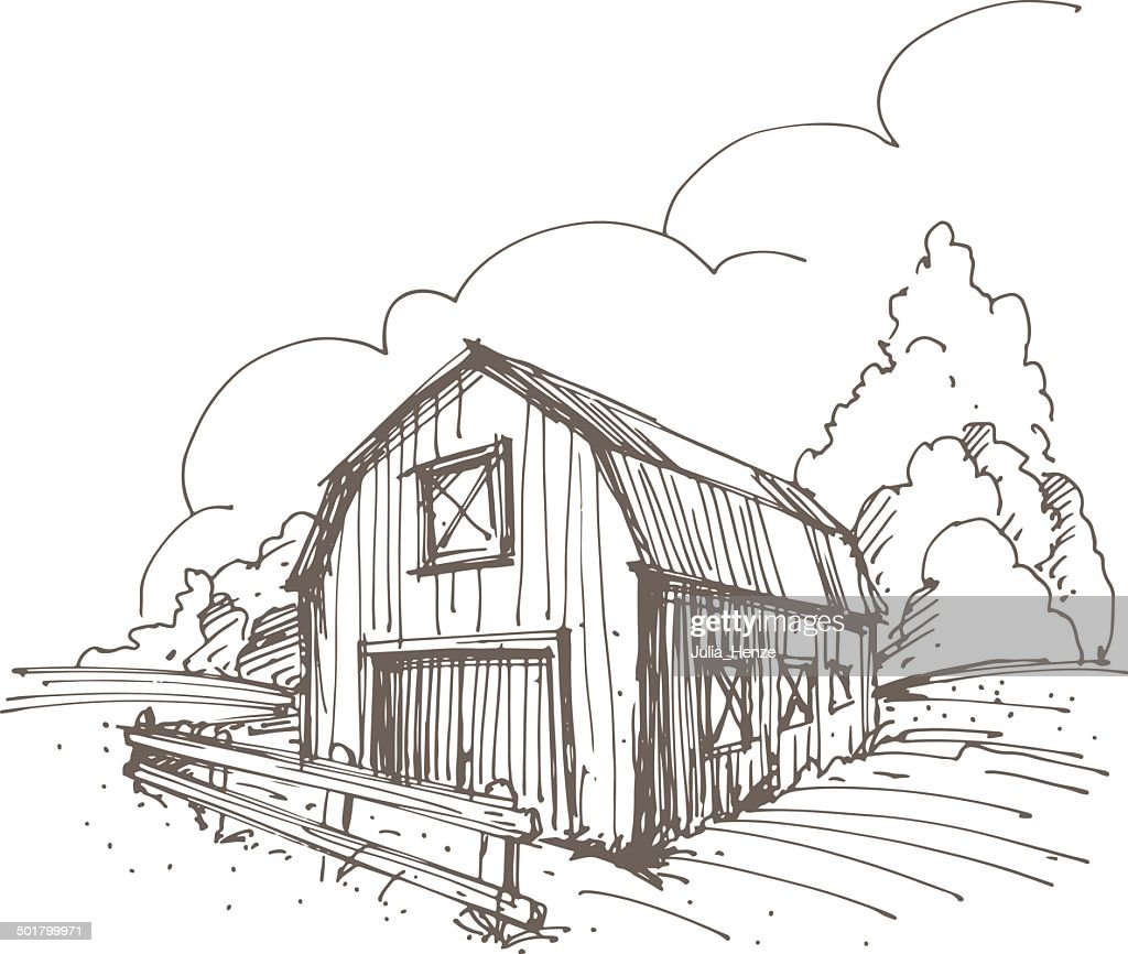 Hand drawn illustration of a farm