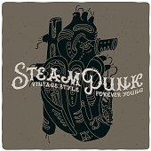 Hand drawn illustration of a mechanic steam punk heart
